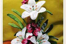 crochet/knitted flower arrangements