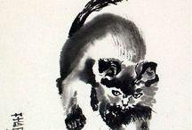oriental art: cat, panda, fox usw