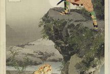 """浮世絵 Ukiyoe / wikipediaより引用 """" 浮世絵(うきよえ)は、江戸時代に成立した絵画のジャンルである。現代において一般的には多色摺りの木版画錦絵のことを指すことが多い。「浮世」という言葉には「現代風」という意味もあり、当代の風俗を描く風俗画である。大和絵の流れを汲み、総合的絵画様式としての文化的背景を保つ一方で、人々の日常の生活や風物などを多く描いている。演劇、古典文学、和歌、風俗、地域の伝説と奇談、肖像、静物、風景、文明開化、皇室、宗教など多彩な題材がある。当然、木版画が量産されるようになる以前には肉筆画のみしか存在しなかったわけで、巻物などの肉筆浮世絵も含まれる。肉筆浮世絵は、形式上、屏風絵、絵巻、画帖、掛け物、扇絵、絵馬、画稿、版下絵の8種類に大別される。また、浮世絵師は和装本の挿絵、表紙の仕事も並行して行った。広義には引き札、鏝絵、泥絵、ガラス絵、凧絵 ねぶた絵なども浮世絵の一種といえる。 """""""