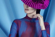 SS16 The Season Hats (by Paul Stafford) / Satin hats that unfold and pack flat like fans. Leather brimmed hats, leather hairbands, satin and leather perching headpieces. Everything geometric. Everything modern. Contemporary Millinery by Paul Stafford.