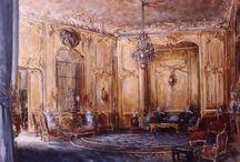 Vues d'intérieurs / Portraits peints d' intérieurs à Paris, Rome, Londres, etc...