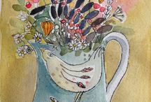 Flowers is vases, cups, pots, etc.