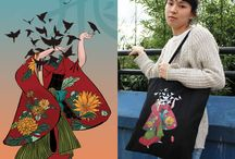 Tote Bags / In 2017, we collaborated with three young artists to create five unique and colourful tote bag collections.