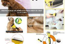 Toilettage / Dans ce tableau, vous trouverez des images ou vidéos des accessoires de toilettage pour chiens disponibles sur la Boutique d'accessoires pour chien Chimey's Paradise.
