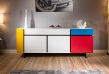 Piet Mondrian Inspired Sideboard Cabinet / Amazing Modern Sideboard from Gual, Portugal. Hand built to order this luxury PIET MONDRIAN inspired sideboard comes fully assembled. Features include a high Lacquered Multicoloured finish on the doors & German soft-close hardware and hinges. The very best in hand built build quality. This unit comprises of 4 doors and 2 drawers. Variety of different colour available