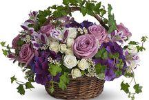 Virágkosarak, kötött csokrok