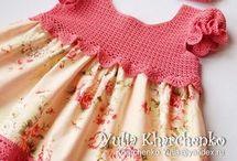 kumaşla örgü elbise