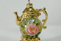Tea Jewelry -  Silver, Brass and Crystal Tea Jewelry and Charms / Welcome to our sumptuous collection of USA handcrafted silver and brass tea jewelry fashioned with china and crystal beads!