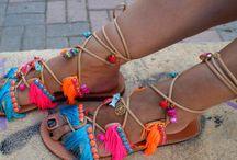 tie up sandals/ gladiator sandals/ boho flats/ fringed sandals/ pom pom sandals/ magosisters