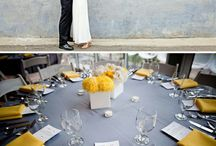 Gray, Coral, and Yellow Wedding Colors