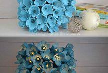 Flores con cartón de huevo