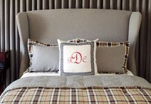 Monogram Decor / Monogramming dates back to ancient Rome and Greece and was used to symbolize power and wealth throughout history.  We're glad those days are over!  Monogramming is an affordable way to create a great personal look to your home. With today's technology, you have a lot of leeway when it comes to choosing the size of the monogram and thread color which can add a lot of contrast or be more subtle.