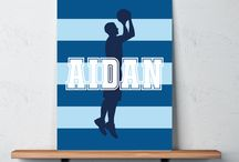 Basketball Rooms for Boys / Basketball themed bedrooms for boys and teens.  Duvet cover bedding sets, throw pillows, wall art prints, gallery wrapped canvases, shower curtains.