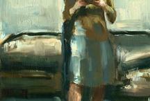 """Original oil by Chicago artist Darren Thompson, """"Reader No.7,"""" 16""""x12"""" 150 dollars saatchionline.com"""