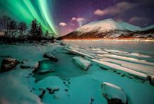 Aurora borealis / The bright dancing lights of the aurora are actually collisions between electrically charged particles from the sun that enter the earth's atmosphere. The lights are seen above the magnetic poles of the northern and southern hemispheres. They are known as 'Aurora borealis' in the north and 'Aurora australis' in the south