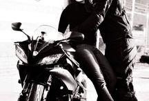 Biker girl & couple