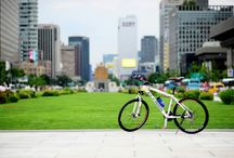Riding with bike. / riding in seoul.