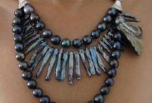 New Jewelry By Dalia Koss. / Swarovski golden shadow art-cut crystals necklace with pearls. / by Dalia Koss