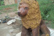 leão guardiao...cement lion! by Marcos Herrero / leão de cimento, para entradas de chacaras, sitios ou fazendas...