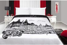 Prehozy na posteľ s nadpisom, motívom, obrázkom mesta