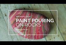 Acrylic pour on rocks