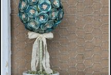 Stampin UP Topiaries Using Flower Die and Punches