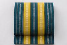 博多織 献上(Kenjo - Nagoya obi) / 「総浮献上」博多織元OKANOが博多織の代表的技法をもちいて制作した、博多献上柄の定番名古屋帯。