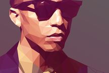 Low poly art portraits / Low poly art portraits created in 2D or 3D applications.