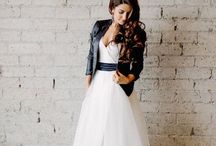 Leather jacket + Wedding dress