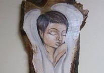 Angels / Anioły na drewnie
