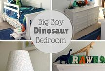 Interiors | Dinosaur Room / Ideas for a big boys bedroom that is obsessed with all things dinosaur.  Curtains, to lampshades, to cuddly toys, bedding etc