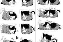 Eren and Levi as cat and dog (so cute :3)