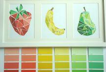 farbtafeln mit früchten collage