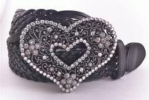 Heart Belt Buckle / Open Cut Heart with Swarovski Crystals