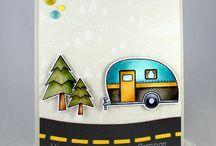 Card happy camper stamp