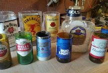 C and J Creations, cut and sanded liquor and beer bottles w/labels still on