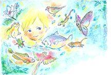 小澤紗来の絵 / 小澤紗来が描いた絵です。 ライブでは画面に絵を投影しながら、歌を歌い、物語を語ります。 saki-ozawa.com
