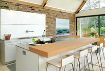 Case Study - bulthaup b3 kitchen and exposed brick / A sleek, designer bulthaup b3 kitchen by hobsons|choice creates a sociable living, cooking and dining environment in this modern luxury home in Winchester.