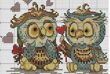 cross stitch owls