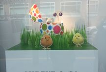 An Easter Window Display / Fuzzy chicks, green grass and arty-colorful eggs make up for fun and playful Easter windows at a downtown San Francisco business.