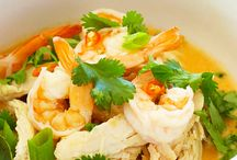 """Malaysian Food Recipes / Malaysian cuisine blends Malayan, Chinese, Thai, Indian and Portuguese culinary traditions. Very rich and diverse, it's based on rice, fish, seafood, meat, herbs, spices, veggies and plethora of tropical fruits.  Rice is a centerpiece of any meal, everything else is a """"side-dish"""". Try traditional Asam pedas (sour and spicy meat stew), Ikan goring (marinated, deep-fried fish), Nasi dagang (rice cooked in coconut milk with fenugreek seeds), Satay (marinated, grilled chunks of beef and chicken),"""