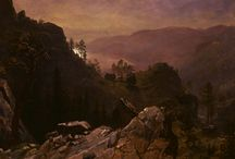 """Albert Bierstadt / Albert Bierstadt (Solingen, 7 gennaio 1830 – New York, 18 febbraio 1902) pittore statunitense, tedesco di nascita, cantore del selvaggio West. Bierstadt basava i propri dipinti (pur con notevoli """"abbellimenti"""" pittorici) su fotografie da lui scattate e su oggetti, soprattutto manufatti indiani, raccolti nel corso di svariati viaggi."""