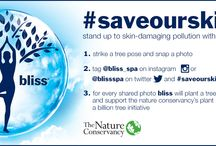 #SaveOurSkin / Join the Movement to #SaveOurSkin! For every tree pose posted tagging @Bliss_Spa on Instagram we will plant a tree in partnership with The Nature Conservancy.