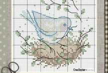 Cross stitching Birds