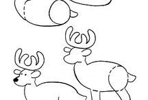 Een eenvoudige hert / Deze leuke hert kan je met deze beschrijvingen maken op het plaatje.