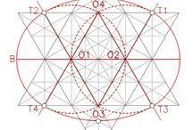 Las redes de Franz Rzhia / Desarrollos geométricos de marcas de cantería según las tres redes primordiales basadas en las figuras del círculo, el cuadrado y el triángulo.