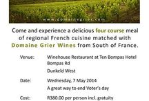 Food & Wine evening! / Join us on the 7th May for a Food & Wine evening! With wines presented by Domanie Grier, a French estate located in the hills of the beautiful Roussillon Region in the South of France and part of the family who own and operate Villiera Estate in Paarl South Africa, together with a decadently delicious four course French inspired meal. Time: 7.00pm for 7.30pm - Bookings essential!