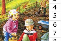 Na poli a v záhrade / Plody jesene, ovocie,zelenina,tekvice, dramatizácia-ťahal dedko repu. Grafomotorika, aktivity s rôznou technikou maľovania.