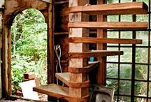 drevo, nabytok, schody