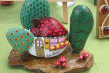 камешки домики / декоративное исскуство